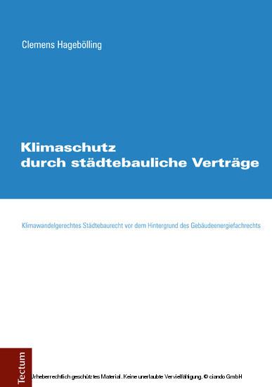 Klimaschutz durch städtebauliche Verträge - Blick ins Buch