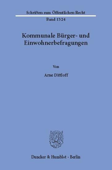Kommunale Bürger- und Einwohnerbefragungen. - Blick ins Buch