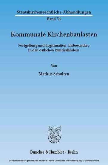 Kommunale Kirchenbaulasten. - Blick ins Buch