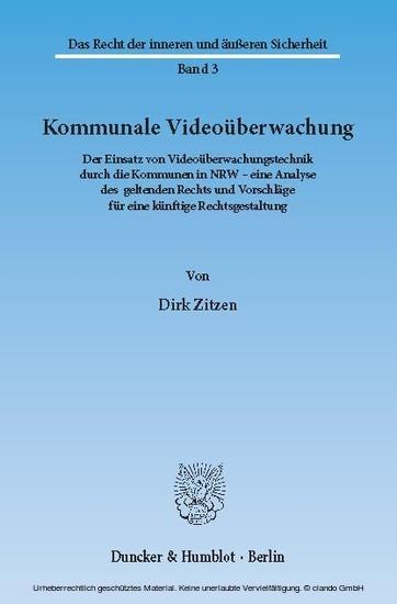 Kommunale Videoüberwachung. - Blick ins Buch