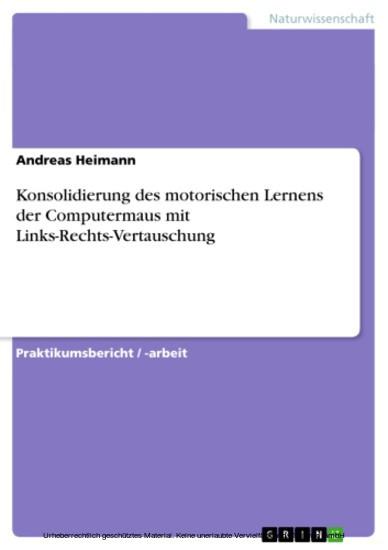 Konsolidierung des motorischen Lernens der Computermaus mit Links-Rechts-Vertauschung - Blick ins Buch
