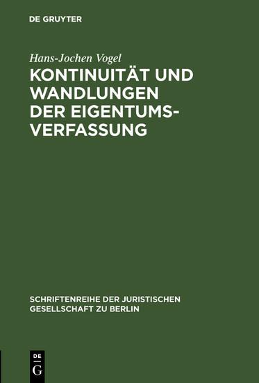 Kontinuität und Wandlungen der Eigentumsverfassung - Blick ins Buch