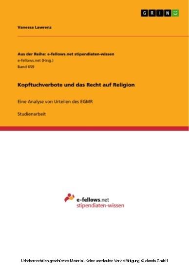 Kopftuchverbote und das Recht auf Religion - Blick ins Buch