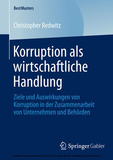 Korruption als wirtschaftliche Handlung - Blick ins Buch