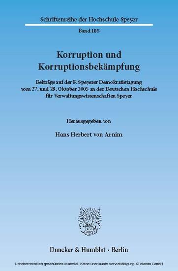 Korruption und Korruptionsbekämpfung. - Blick ins Buch