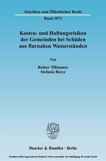 Kosten- und Haftungsrisiken der Gemeinden bei Schäden aus flurnahen Wasserständen. - Blick ins Buch