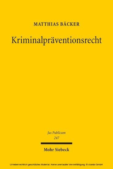 Kriminalpräventionsrecht - Blick ins Buch