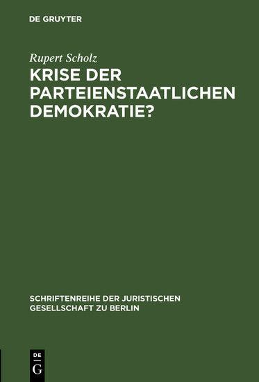 Krise der parteienstaatlichen Demokratie? - Blick ins Buch