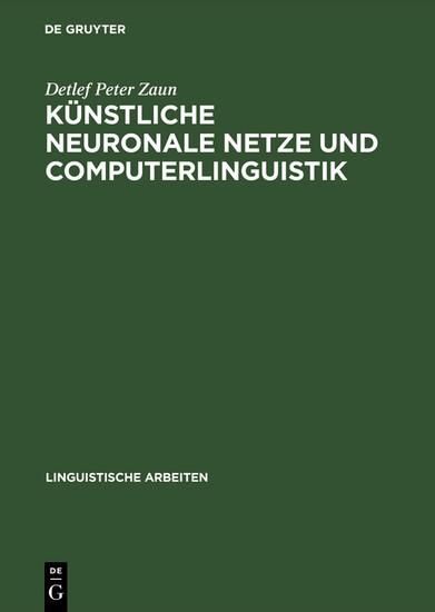 Künstliche neuronale Netze und Computerlinguistik - Blick ins Buch