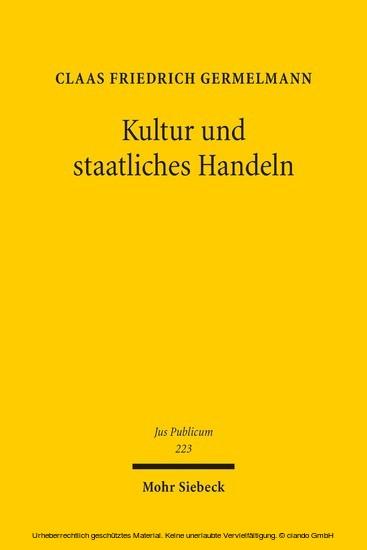Kultur und staatliches Handeln - Blick ins Buch