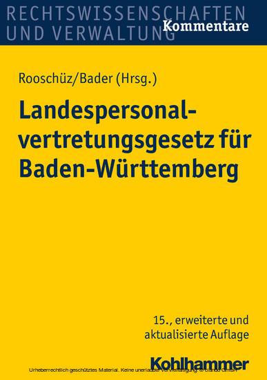 Landespersonalvertretungsgesetz für Baden-Württemberg - Blick ins Buch