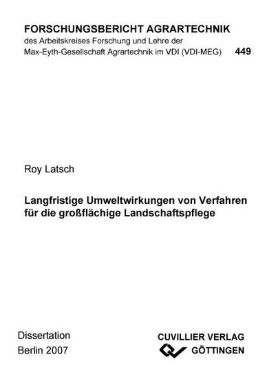 Langfristige Umweltwirkungen von Verfahren für die großflächige Landschaftspflege - Blick ins Buch
