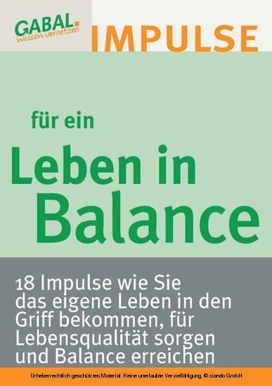 Leben in Balance - Blick ins Buch