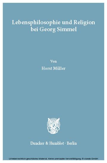 Lebensphilosophie und Religion bei Georg Simmel. - Blick ins Buch