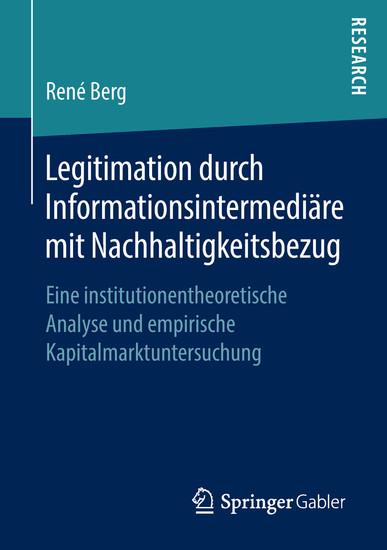 Legitimation durch Informationsintermediäre mit Nachhaltigkeitsbezug - Blick ins Buch