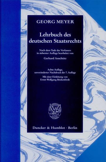 Lehrbuch des deutschen Staatsrechts. - Blick ins Buch