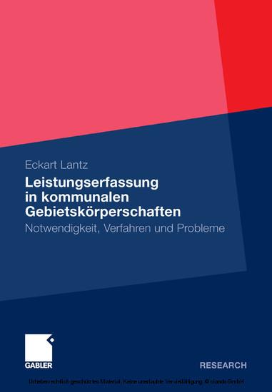 Leistungserfassung in kommunalen Gebietskörperschaften - Blick ins Buch