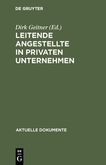 Leitende Angestellte in privaten Unternehmen - Blick ins Buch