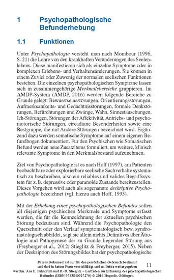 Leitfaden zur Erfassung des psychopathologischen Befundes - Blick ins Buch