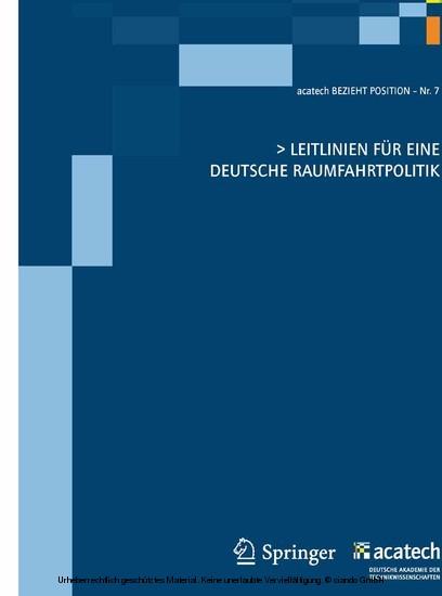 Leitlinien für eine deutsche Raumfahrtpolitik - Blick ins Buch
