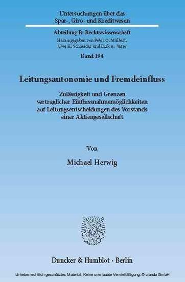 Leitungsautonomie und Fremdeinfluss. - Blick ins Buch