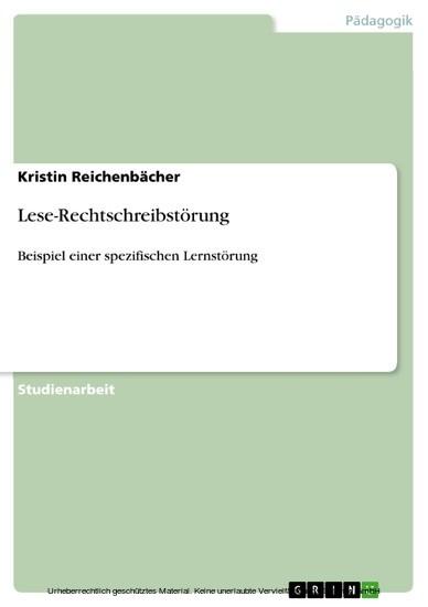 Lese-Rechtschreibstörung - Blick ins Buch