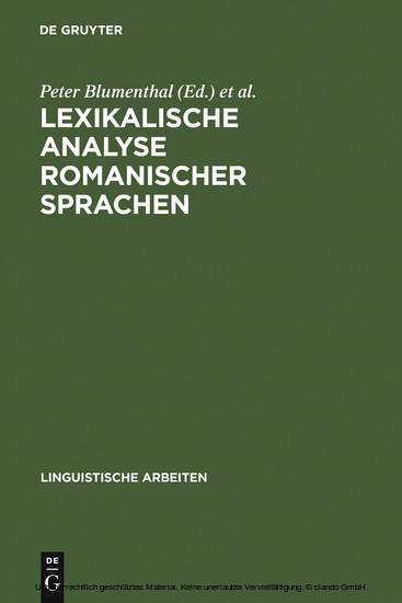 Lexikalische Analyse romanischer Sprachen - Blick ins Buch