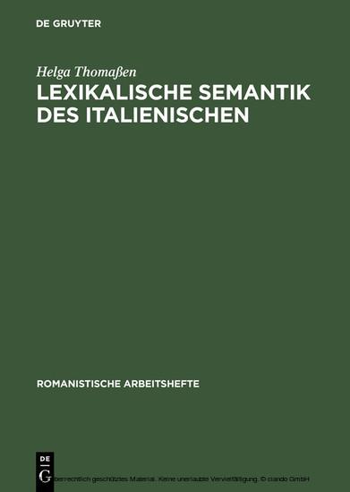 Lexikalische Semantik des Italienischen - Blick ins Buch