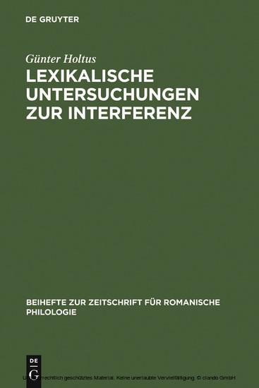 Lexikalische Untersuchungen zur Interferenz - Blick ins Buch