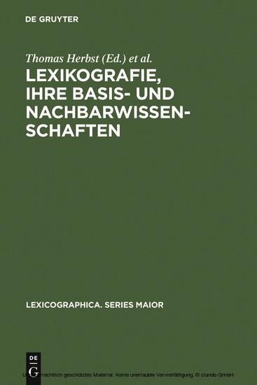 Lexikografie, ihre Basis- und Nachbarwissenschaften - Blick ins Buch