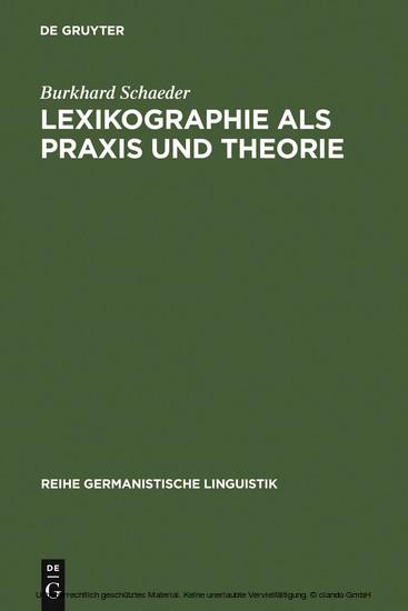 Lexikographie als Praxis und Theorie - Blick ins Buch
