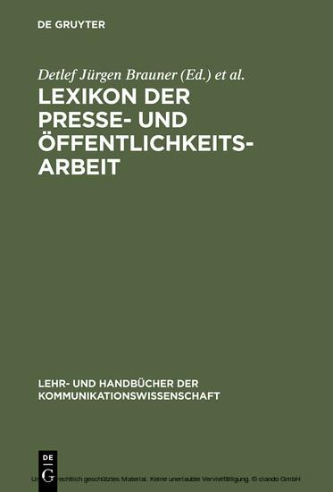 Lexikon der Presse- und Öffentlichkeitsarbeit - Blick ins Buch