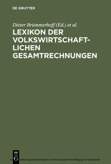 Lexikon der Volkswirtschaftlichen Gesamtrechnungen - Blick ins Buch