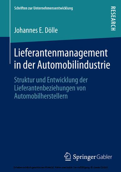 Lieferantenmanagement in der Automobilindustrie - Blick ins Buch