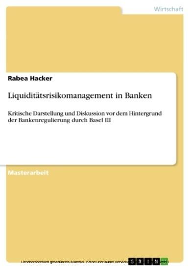 Liquiditätsrisikomanagement in Banken - Blick ins Buch