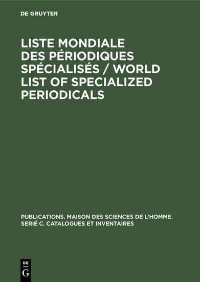 Liste mondiale des périodiques spécialisés / World list of specialized periodicals - Blick ins Buch