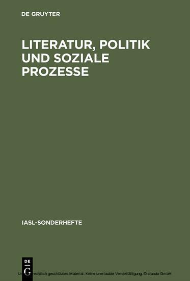Literatur, Politik und soziale Prozesse - Blick ins Buch