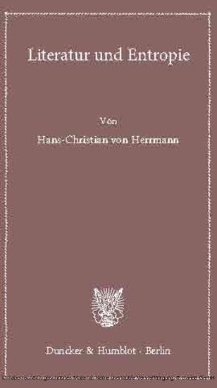 Literatur und Entropie. - Blick ins Buch
