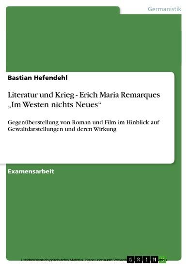 Literatur und Krieg - Erich Maria Remarques 'Im Westen nichts Neues' - Blick ins Buch