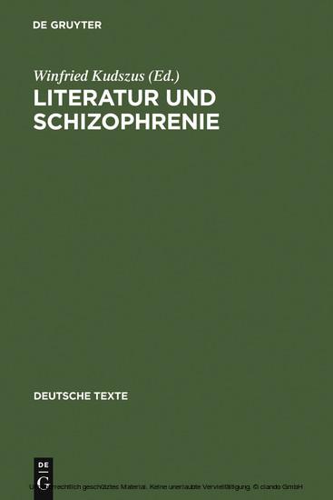 Literatur und Schizophrenie - Blick ins Buch