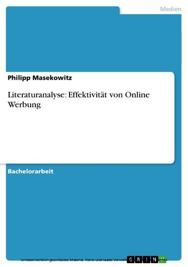 Literaturanalyse: Effektivität von Online Werbung - Blick ins Buch