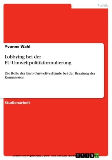 Lobbying bei der EU-Umweltpolitikformulierung - Blick ins Buch