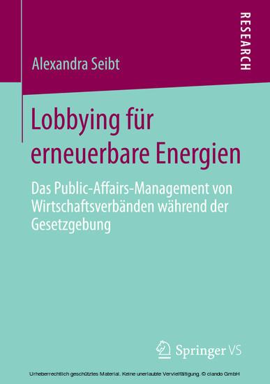Lobbying für erneuerbare Energien - Blick ins Buch