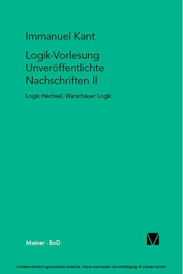 Logik-Vorlesung. Unveröffentlichte Nachschriften II - Blick ins Buch