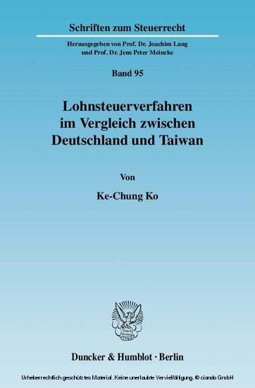Lohnsteuerverfahren im Vergleich zwischen Deutschland und Taiwan. - Blick ins Buch