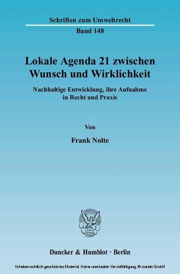 Lokale Agenda 21 zwischen Wunsch und Wirklichkeit. - Blick ins Buch