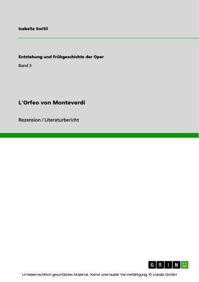 L'Orfeo von Monteverdi - Blick ins Buch