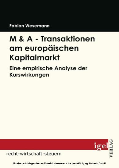 M & A - Transaktionen am europäischen Kapitalmarkt - Blick ins Buch