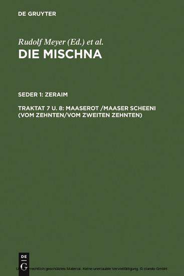 Maaserot /Maaser Scheni (Vom Zehnten/Vom zweiten Zehnten) - Blick ins Buch