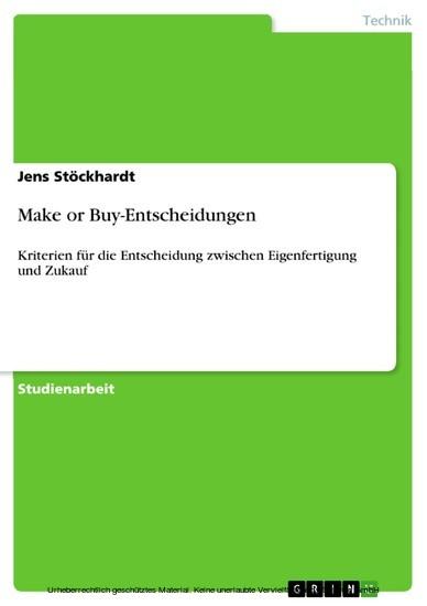 Make or Buy-Entscheidungen - Blick ins Buch